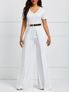 Ericdress Wide Leg V Neck Plain Women's Jumpsuit Ericdress Wide Leg V Neck Plain Women's […] The post Ericdress Wide Leg V Neck Plain Women's Jumpsuit appeared first on How To Be Trendy. White Outfits For Women, Clothes For Women, Jumpsuits For Women Formal, Homecoming Outfits, Jumpsuit Outfit, White Fashion, African Fashion, Ideias Fashion, Fashion Dresses