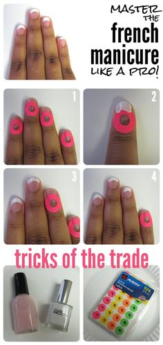 How to French Manicure like a Pro just peel the stickers off very carefully.