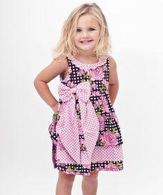 Black Polka Dot Rose Surplice Back Dress - Toddler by Bye Bye Birdie #zulily #zulilyfinds