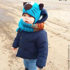 """Купить Шапка детская """"Котенок с улицы Лизюкова"""" - бирюзовый, шапочка крючком, шапочка с ушками"""