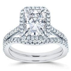 Annello by Kobelli 14k White Gold Radiant Cut Moissanite and 2/5ct TDW Halo Diamond 2-Piece Bridal R (Size 6), Women's