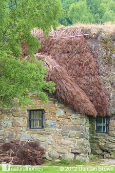This is Leanach Farmhouse in Scotland. At almost 300 years old its wonderful history is told by the stones, clay and oak that have kept it standing for so many centuries. In this picture the beautiful cottage is getting a new haircut of a red heather thatch. You can read and see more pictures here www.naturalhomes.org/leanach.htm