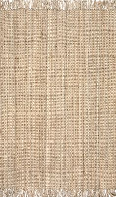 nuLOOM Natura Collection Chunky Loop Jute Casuals Natural Fibers Hand Woven Area Rug, x Beige