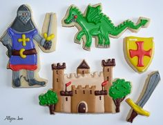 Knights, dragon and castle cookies Dragon Birthday Parties, Dragon Party, Boy Birthday, Knight Cake, Knight Party, Dinosaur Cookies, Dinosaur Party, Cookies For Kids, Cute Cookies