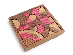 Neapolitan Colored Circles Puzzle - Hand Colored Oak Pieces . Timber Green Woods. $27,95, via Etsy.