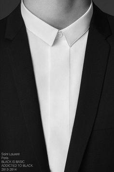 YSL Narrow collar shirt with hidden buttons