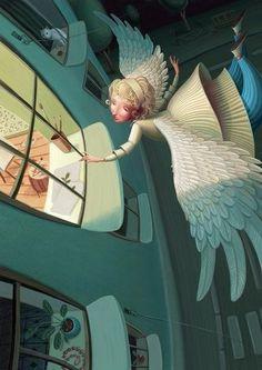 Ангелы в Санкт-Петербурге: серия замечательных иллюстраций талантливого российского художника Вари Колесниковой