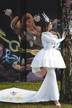 Boy Spee The Frustration Dress #BoySpee #Boy #Spee #White #Dress  #Fashion #Horns #Demon #Female #Model #Future