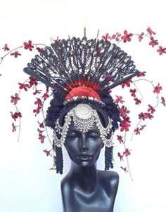 Fan and Flower Headdress by MissGDesignsShop on Etsy