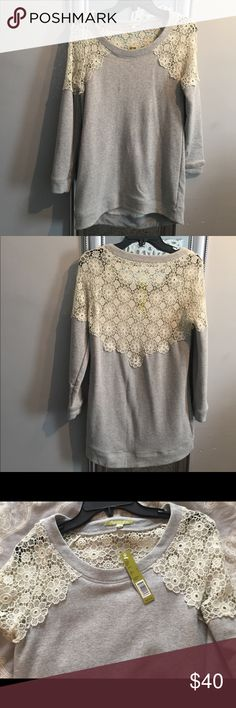 NWT Gianni Bini Shiloh Knit Sweatshirt Gianni Bini Grey with Cream Lace Shoulder and Back Detail • Perfect length for leggings or jeans • New with tags Gianni Bini Tops Sweatshirts & Hoodies