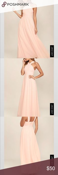 Formal dress, perfect for a wedding guest dress More romantic than a candlelit dinner or a trip to the Eiffel Tower, the Air of Romance Peach Maxi Dress will have you feeling the love! Lightweight Georgette, in a peachy pink hue, falls from a modified halter neckline, into a seamed bodice supported by semi-sheer shoulder straps. A sweeping skirt cascades from a banded waist completing this elegant maxi dress. Hidden zipper with clasp. Fully Lined 100% Polyester…