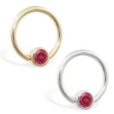 real gold captive bead ring with Pink Tourmaline