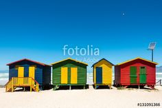 Hightech beach huts with solar panel on Muizenberg beach in Cape Town, South Africa
