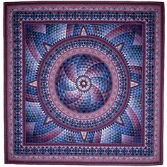 """Another awesome quilt from Jinny Beyer.  I probably love this one so much because of all the purple and violet colors.  Named """"Windows,"""" it contains 4,777 pieces of individual fabrics, hand-cut and hand-pieced."""