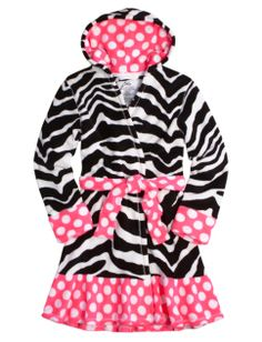 Zebra dot fleece robe!!! I love it! Get under the christmas tree!!!!!! (From Justice)