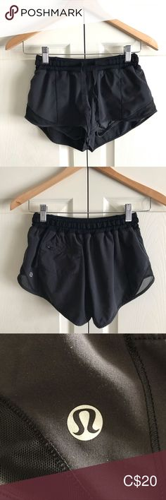 Black Lululemon Hotty Hot Short Gently worn black Hotty Hot short from Lululemon. Zipper on back pocket has black paint chipped off in a few places (see picture). These are an older pair, and have a drawstring. There is also a pocket on the inside of the short as well.   Very comfortable, but they no longer fit.  Reasonable offers welcome! lululemon athletica Shorts