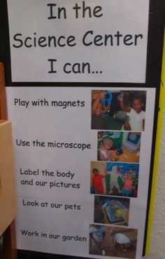 Can anchor chart in the Science Center. Good for kindergarten with photos and simple text. Kindergarten Centers, Kindergarten Science, Teaching Science, Kindergarten Classroom, Learning Centers, Science Activities, Classroom Activities, Science Experiments, Classroom Ideas