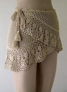 crochet cover up camels hair color cover up crochet pareo women pareo wrap cover mini skirt beach wear ! Crochet Skirt Pattern, Crochet Skirts, Crochet Clothes, Crochet Sweaters, Skirt Patterns, Mode Crochet, Crochet Lace, Crochet Stitches, Weaving