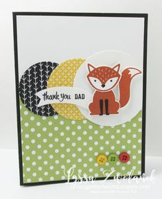 A little foxy fox punch stampin up dad father card - SU - Foxy Friends stamp set and coordinating Fox Builder punch, Thoughtful Banners, Duet Banner Punch