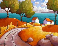 Summer Seaside Road Cottages ~ Cathy Horvath Buchanan