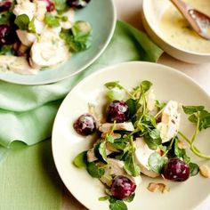 Salad of Chicken, Cherries, Watercress and Almonds With Tarragon: Recipe Best Summer Salads, Summer Salad Recipes, Healthy Salad Recipes, Smoked Chicken Salad, Chicken Salad Recipes, Mint Recipes, Cherry Recipes, Food For A Crowd