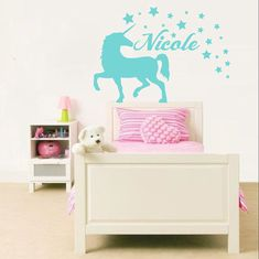 Unicorn Wall Decal Name Sticker Personalized Custom Decals Vinyl Art Home Decor Girls Bedroom Decor Nursery Kids Room Dear Buyers, Welcome to our shop VinylDecals2U!  Do not forget to write the name!  ★ SIZE AND COLOR ★ Approximate Item Sizes:  12 Tall (Wide depends on name) 17 Tall (Wide depends on name) 22 Tall (Wide depends on name) 28 Tall (Wide depends on name)   If this size is inappropriate for you, you can contact us and provide your dimensions and we can create for you decal of any…