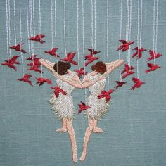 """michellekingdom: """"Life will divide us - 8"""" embroidery on linen #embroidery #embroideryart #bordado #broderie """""""