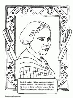 Black History Month or Women's History Month coloring book page featuring African-American inventor Sarah Breedlove Walker Black History Month Activities, History For Kids, Women In History, Black History Quotes, Black History Facts, African American Inventors, African American History, Black History Inventors, History Projects