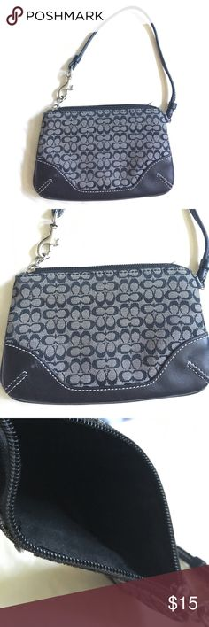 """Coach black and gray wristlet coin purse Black and gray Coach coin purse in leather and logo fabric. Clean and in very good condition but missing the little Coach tag that hangs on a chain. Measures 5"""" x 3.5"""" Coach Bags Clutches & Wristlets"""
