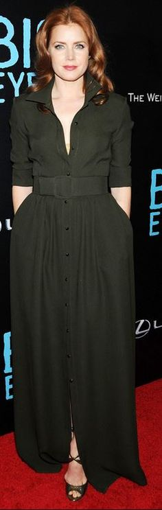 Who made  Amy Adams' green jumpsuit, gold shoes, and jewelry? Love this.