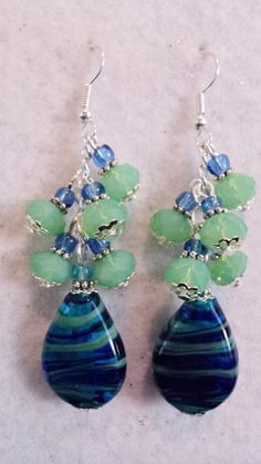 Blue and Green Beaded Lampwork and Crystal by uniquelyyours2010, $23.50