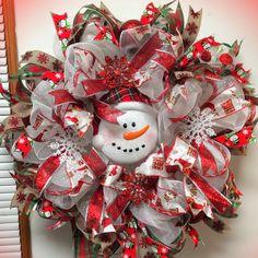"Deco Mesh Handmade Christmas Snowman Deco Mesh Wreath 24"" Handmade"
