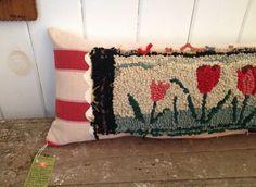 Folk Art Hooked Rug Pillow by CorduroyShop on Etsy