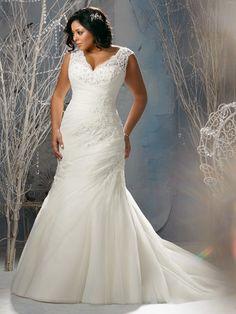 Slida/Kolumn V-Ringad Court Släp Tyll rmlös Applique Wedding Dresses