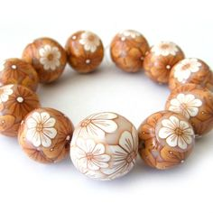 Polymer Clay Beads with Caramel and White by RolyzCreations,
