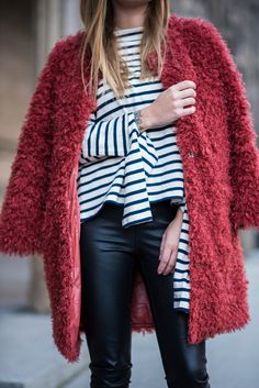 Coat: tumblr red fuzzy top stripes striped top pants black pants leather pants black leather pants