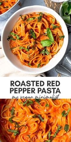 Rich and creamy vegan red pepper pasta that's ready within 20 minutes. Perfect for happy healthy vegans looking for their next favourite pasta dish. This easy vegan pasta recipe is the perfect dish for 1 couples or even families. Vegan Recipes Easy, Veggie Recipes, Pasta Recipes, Vegetarian Recipes, Vegan Comfort Food, Vegan Food, Roasted Red Pepper Pasta, Happy Healthy, Healthy Eats