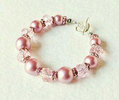 Pink pearl and crystal bracelet