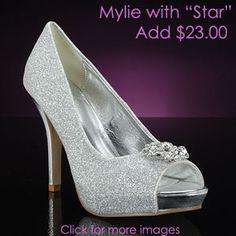 Sparkly silver wedding shoe!