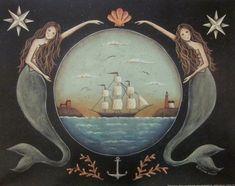 Sirens of the Sea. Nautical Stars Mermaid Ocean Schooner Folk Art Print by Donna Atkins. Nautical Star, Vintage Nautical, Nautical Logo, Nautical Prints, Nautical Design, Nautical Wedding, Nautical Theme, Siren Mermaid, Mermaid Art