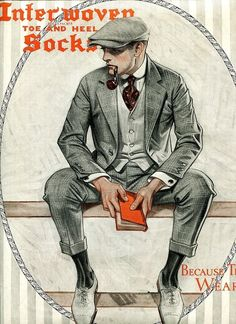 1921 Interwoven SOCKS COLOR AD. JC LEYENDECKER Art. Man Smoking Pipe Wears Cap