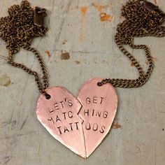 Let's Get Matching Tattoos BFF Necklaces by MaryHannahLittleLamb, $35.00