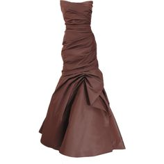 Monique Lhuillier Drape Trumpet Gown ($4,495) ❤ liked on Polyvore featuring dresses, gowns, long dresses, evening gowns, brown, strapless dress, trumpet dress, monique lhuillier gown, draped dress and monique lhuillier dresses