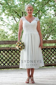 Tea Length Plus Size Wedding Dresses 1960