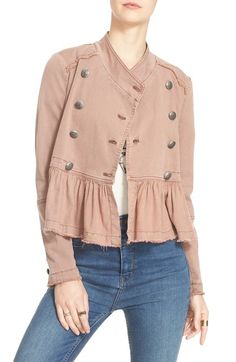 Free People Ruffle Hem Military Jacket available at #Nordstrom