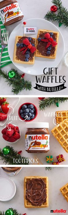 Unwrapping the happy this season is simple – just whip up your favorite waffle recipe and top with Nutella®. Tie it off with a fruit bow and serve with a side of Christmas cheer.