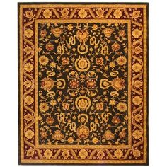 Handmade Kashan Charcoal/ Red Wool Rug (8' x 10')