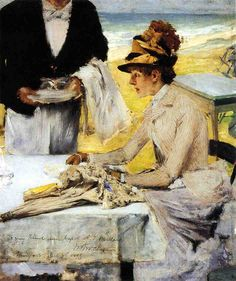 William Merritt Chase - Ordering Lunch by the Seaside