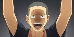 tanaka's face. Haikyuu Karasuno, Nishinoya, Hinata, Tanaka Haikyuu, Tanaka Ryuunosuke, High Five, Iron Man, Deadpool, Disney Characters