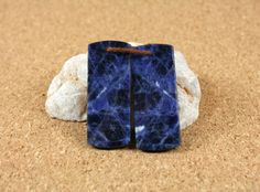 Sodalite Earring Pair  Blue and White Rectangle Stone by ABOSBeads